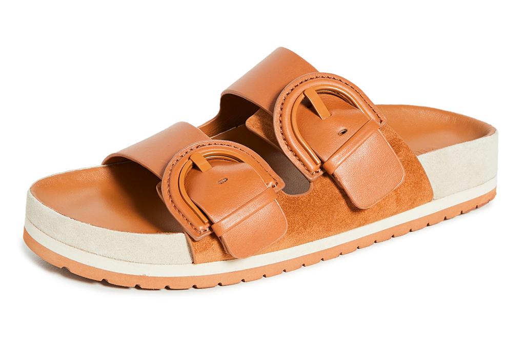 sandals, tan, slides, double strap, vince
