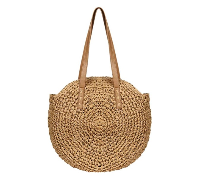 Women's Straw Handbags Large Summer Beach Tote Woven Round Pompom Handle Shoulder Bag, best Amazon Prime Days handbag deals