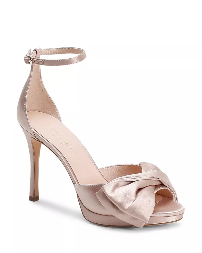 Kate Spade New York Bridal Bow Strappy High-Heel Sandals, affordable wedding heels