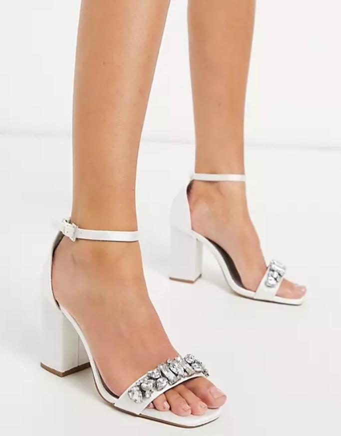 London Rebel Wide Fit Embellished Bridal Block Heel Sandal, affordable wedding heels