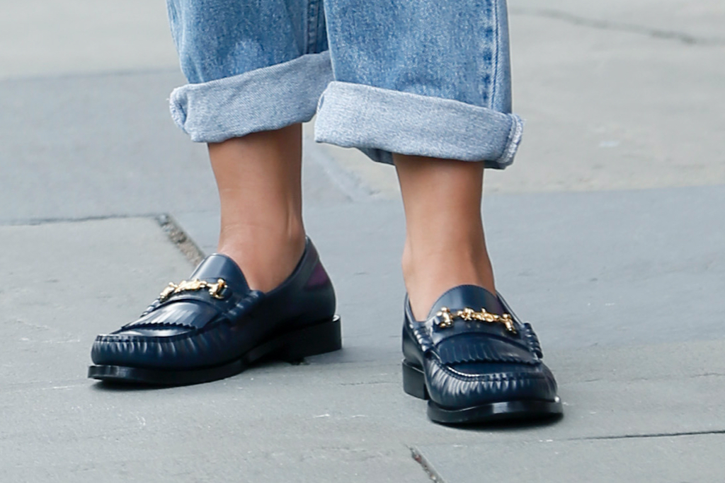 Gina Rodriguez, loafers, Players, blue jeans, nyc