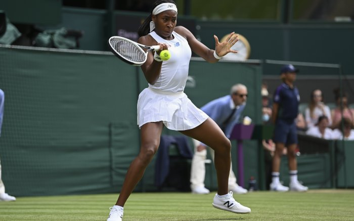 """Wimbledon Championships, Day 4. Coco Gauff v Elena Vesnina. Coco Gauff. 01 Jul 2021 Pictured: 01.07.2021. Wimbledon Championships, Day 4. Coco Gauff v Elena Vesnina. Coco Gauff Material must be credited """"The Times/News Licensing"""" unless otherwise agreed. 100% surcharge if not credited. Online rights need to be cleared separately. Strictly one time use only subject to agreement with News Licensing. Photo credit: News Licensing / MEGA TheMegaAgency.com +1 888 505 6342 (Mega Agency TagID: MEGA766841_001.jpg) [Photo via Mega Agency]"""