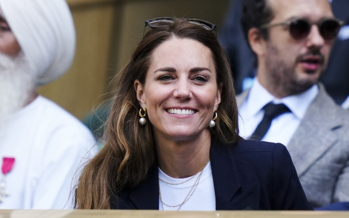 """Catherine Duchess of Cambridge in the Centre Court Royal Box Wimbledon Championship Day 5. 2nd July 2021. 02 Jul 2021 Pictured: Catherine Duchess of Cambridge in the Centre Court Royal Box Wimbledon Championship Day 5. 2nd July 2021. Material must be credited """"News Licensing"""" unless otherwise agreed. 100% surcharge if not credited. Online rights need to be cleared separately. Strictly one time use only subject to agreement with News Licensing. Photo credit: News Licensing / MEGA TheMegaAgency.com +1 888 505 6342 (Mega Agency TagID: MEGA767274_004.jpg) [Photo via Mega Agency]"""