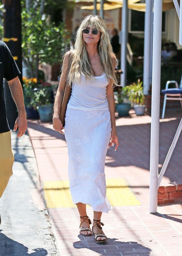 Heidi Klum, ankle wrap sandals