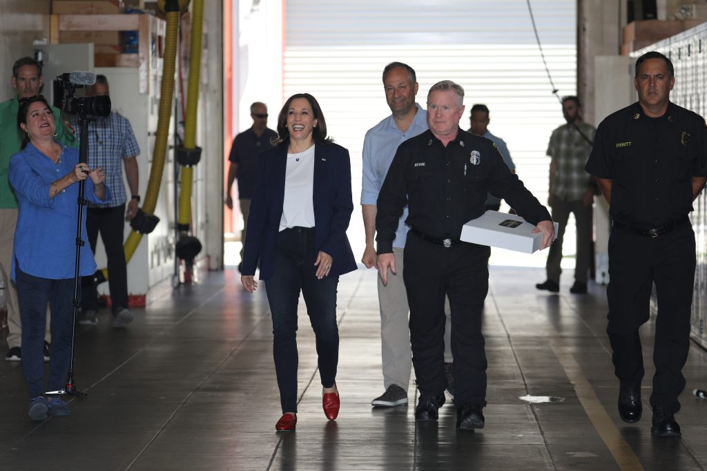 United States Vice President Kamala Harris and her husband Second Gentleman Douglas Emhoff make a surprise visit to LAFD Station 19 in the Brentwood neighborhood of Los Angeles, California, USA as part of the holiday celebration 04 July 2021. In 2019, the Station 19 crew were part of the 1,000 plus firefighters that fought the Getty Fire in Los Angeles. Credit: David Swanson / Pool via CNP. 04 Jul 2021 Pictured: United States Vice President Kamala Harris and her husband Second Gentleman Douglas Emhoff make a surprise visit to LAFD Station 19 in the Brentwood neighborhood of Los Angeles, California, USA as part of the holiday celebration 04 July 2021. In 2019, the Station 19 crew were part of the 1,000 plus firefighters that fought the Getty Fire in Los Angeles. Credit: David Swanson / Pool via CNP. Photo credit: David Swanson - Pool via CNP / MEGA TheMegaAgency.com +1 888 505 6342 (Mega Agency TagID: MEGA767583_018.jpg) [Photo via Mega Agency]