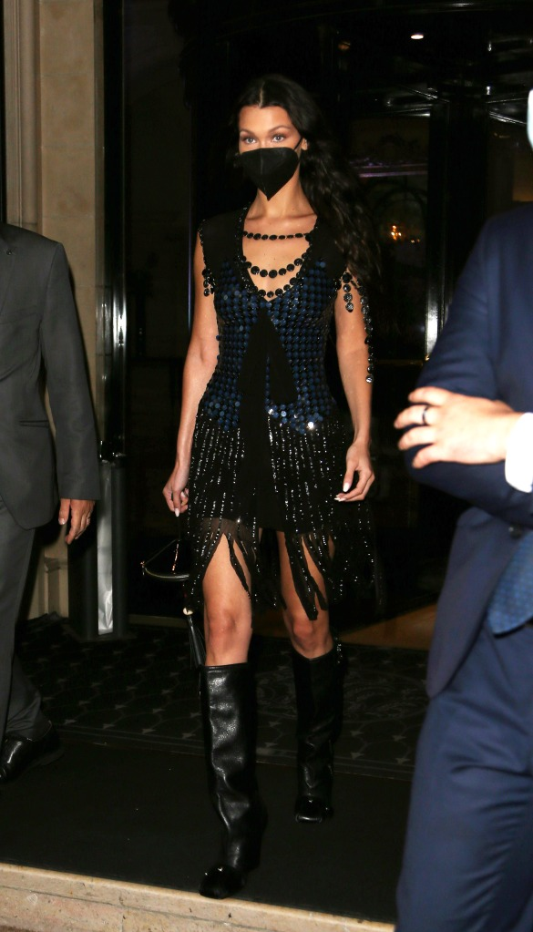 Bella Hadid seen at Four Seasons Hotel during Paris Fashion Week. 05 Jul 2021 Pictured: Bella Hadid. Photo credit: KCS Presse / MEGA TheMegaAgency.com +1 888 505 6342 (Mega Agency TagID: MEGA767945_001.jpg) [Photo via Mega Agency]