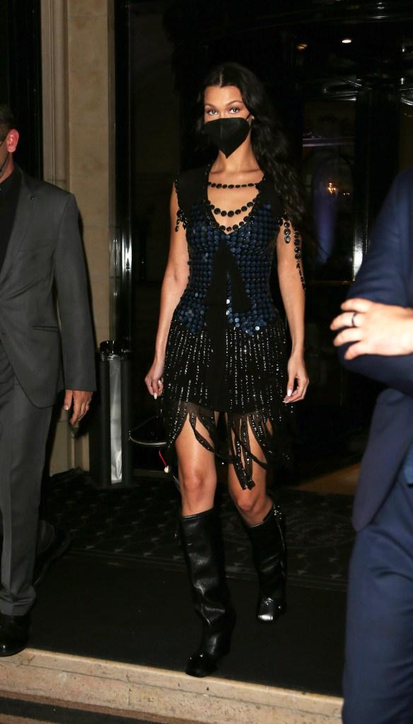 Bella Hadid seen at Four Seasons Hotel during Paris Fashion Week. 05 Jul 2021 Pictured: Bella Hadid. Photo credit: KCS Presse / MEGA TheMegaAgency.com +1 888 505 6342 (Mega Agency TagID: MEGA767945_002.jpg) [Photo via Mega Agency]