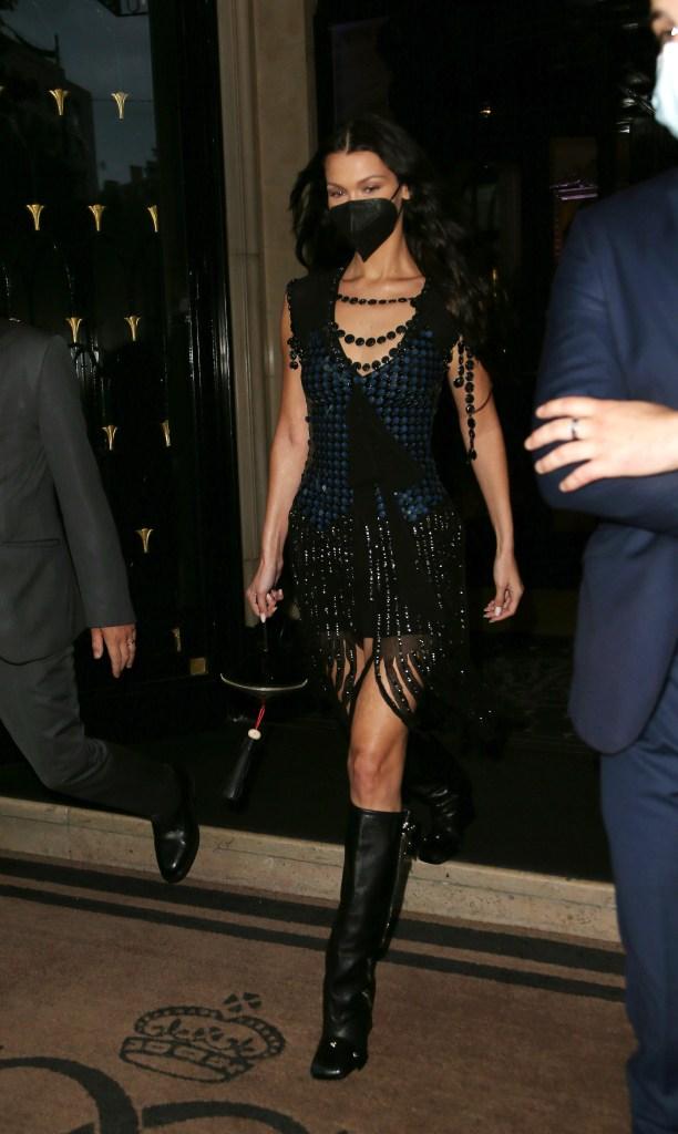 Bella Hadid seen at Four Seasons Hotel during Paris Fashion Week. 05 Jul 2021 Pictured: Bella Hadid. Photo credit: KCS Presse / MEGA TheMegaAgency.com +1 888 505 6342 (Mega Agency TagID: MEGA767945_003.jpg) [Photo via Mega Agency]