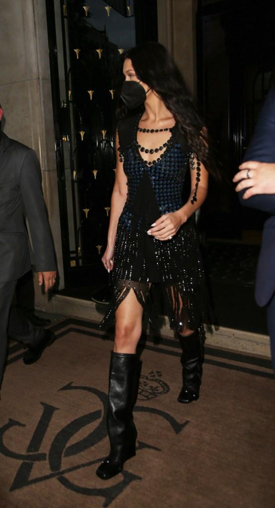 Bella Hadid seen at Four Seasons Hotel during Paris Fashion Week. 05 Jul 2021 Pictured: Bella Hadid. Photo credit: KCS Presse / MEGA TheMegaAgency.com +1 888 505 6342 (Mega Agency TagID: MEGA767945_007.jpg) [Photo via Mega Agency]