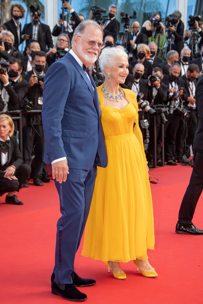 74th Cannes Film Festival -'Annette' Premiere and opening Ceremony. 06 Jul 2021 Pictured: Dame Helen Mirren and husband Taylor Edwin Hackford. Photo credit: Franck Boham/imageSPACE / MEGA TheMegaAgency.com +1 888 505 6342 (Mega Agency TagID: MEGA768227_041.jpg) [Photo via Mega Agency]
