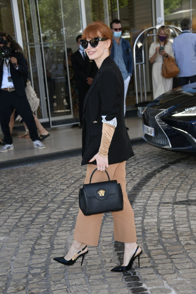 Jessica Chastain, Cannes Film Festival, versace suit, versace safety pin pumps, medusa bag