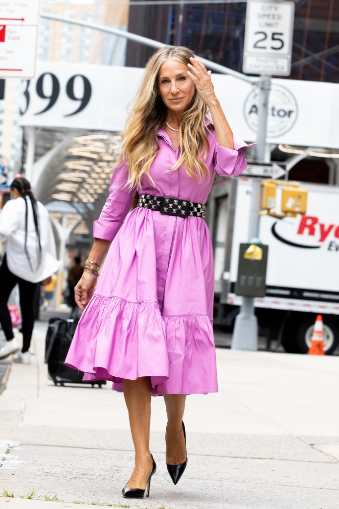 """Sarah Jessica Parker Heads to Set of """"And Just Like That"""" Downtown, NY. 19 Jul 2021 Pictured: Sarah Jessica Parker. Photo credit: RCF / MEGA TheMegaAgency.com +1 888 505 6342 (Mega Agency TagID: MEGA772494_007.jpg) [Photo via Mega Agency]"""