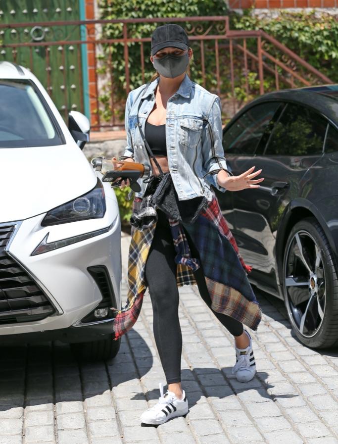 Chrissy Teigen, adidas sneakers, flannel