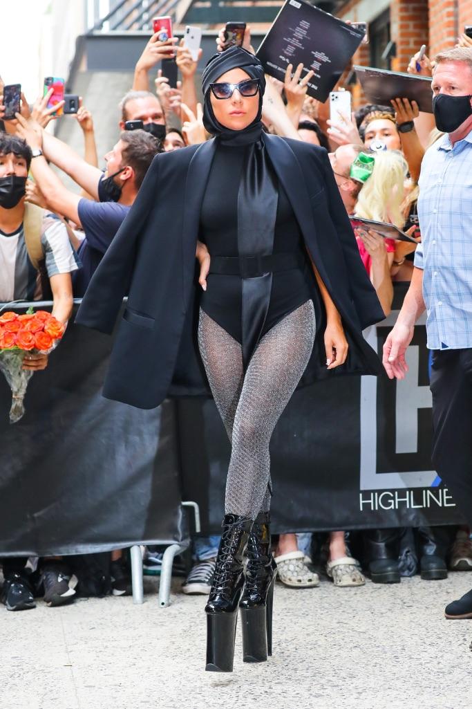 Lady Gaga, bodysuit, glitter tights, turban, platform heels