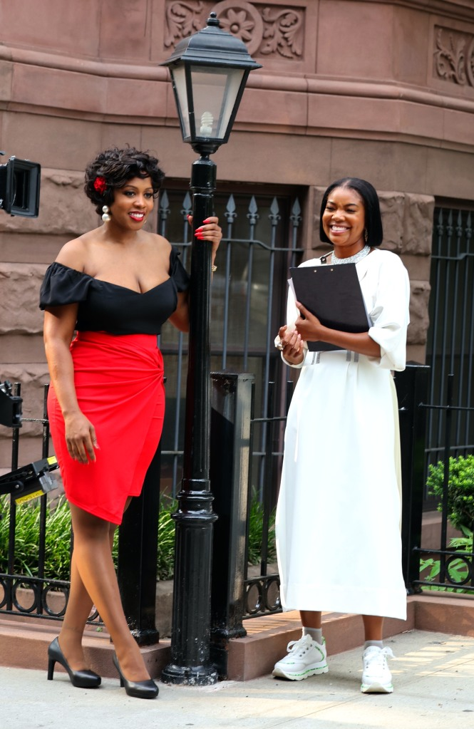 """Gabrielle Union, Remy Ma, Keith Powers and Latoia Fitzgerald pictured filming at """"The Perfect Find"""" set in Downtown, Manhattan.Pictured: Remy Ma,Gabrielle UnionRef: SPL5240718 220721 NON-EXCLUSIVEPicture by: Jose Perez / SplashNews.comSplash News and PicturesUSA: +1 310-525-5808London: +44 (0)20 8126 1009Berlin: +49 175 3764 166photodesk@splashnews.comWorld Rights"""