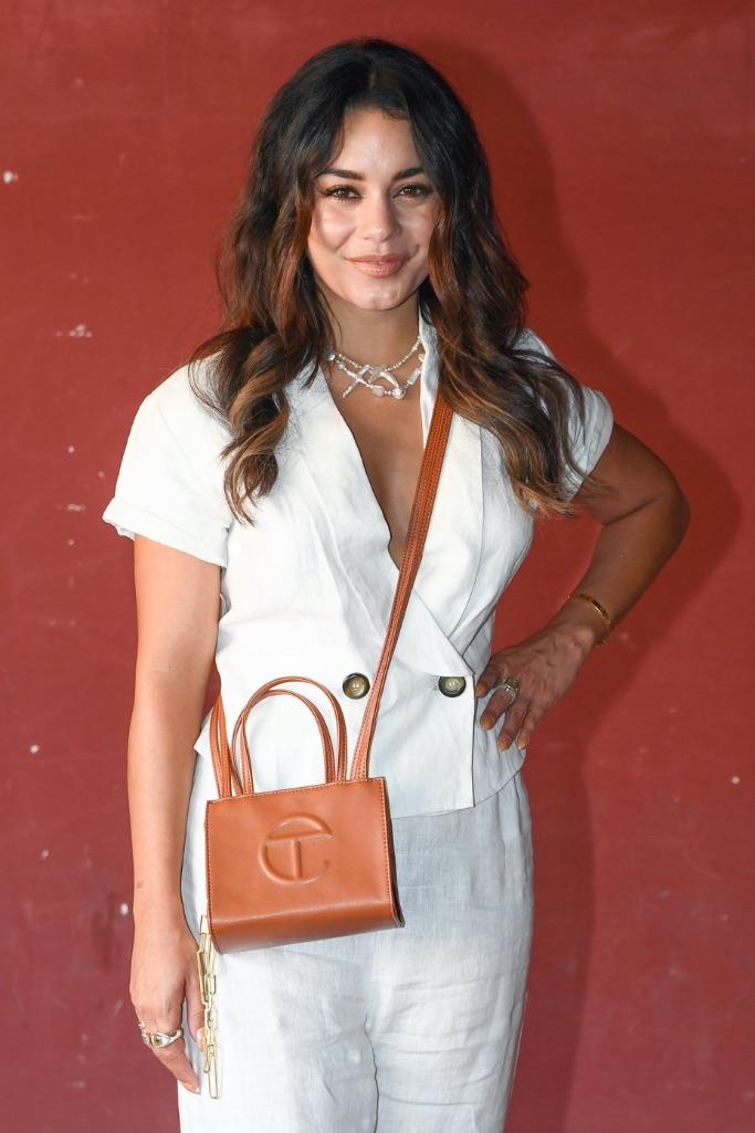 Vanessa Hudgens, white, linen, suit, beige, peep toe, heels