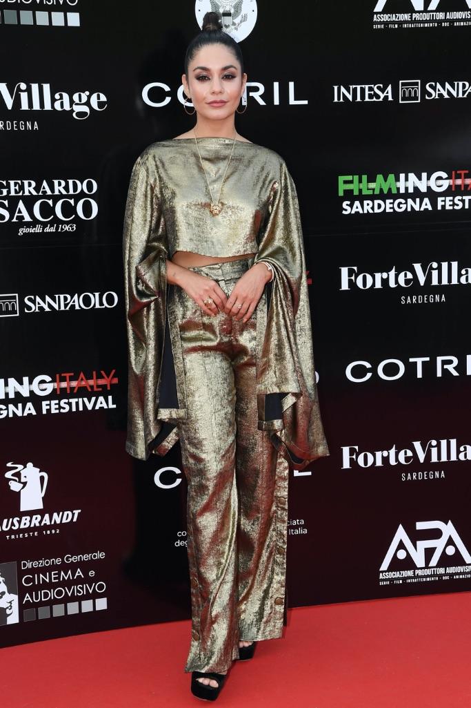 Vanessa Hudgens, gold statement sleeve, pants, black platform heels