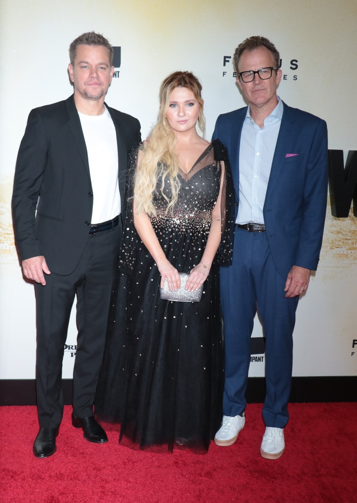 """Matt Damon, Abigail Breslin and Tom McCarthy attend the """"Stillwater"""" New York premiere at Rose Theater, Jazz at Lincoln Center on July 26, 2021 in New York City.Pictured: Matt Damon,Abigail Breslin and Tom McCarthy Ref: SPL5241564 270721 NON-EXCLUSIVE Picture by: Jackie Brown / SplashNews.com Splash News and Pictures USA: +1 310-525-5808 London: +44 (0)20 8126 1009 Berlin: +49 175 3764 166 photodesk@splashnews.com World Rights"""