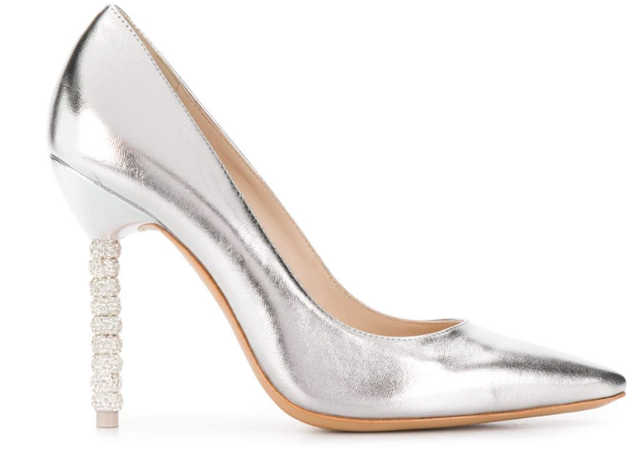 Sophia Webster, coco pumps, crystal heels, metallic, silver