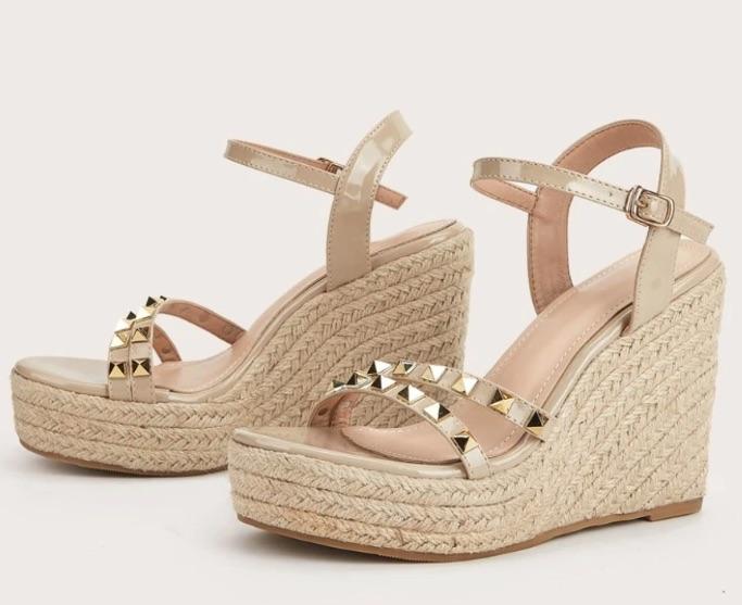 Shein Studded Decor Espadrille Wedge Sandals