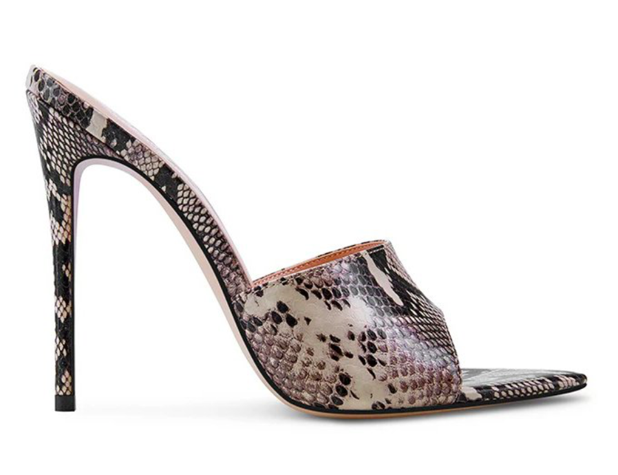 Heidi Klum Femme, mules, snake print,