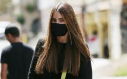 Sofia Vergara, studded wedges, neon bag,