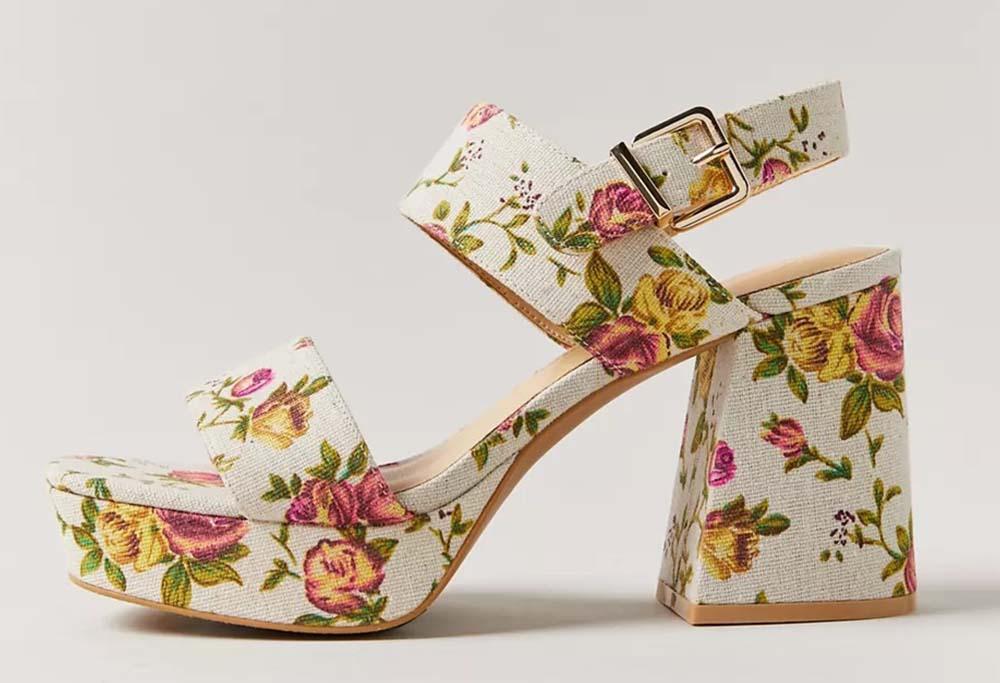 UO Rachel Floral Strappy Platform Heels