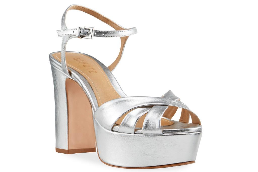 affordable wedding heels, Schutz Keefa Metallic Leather Platform Sandals