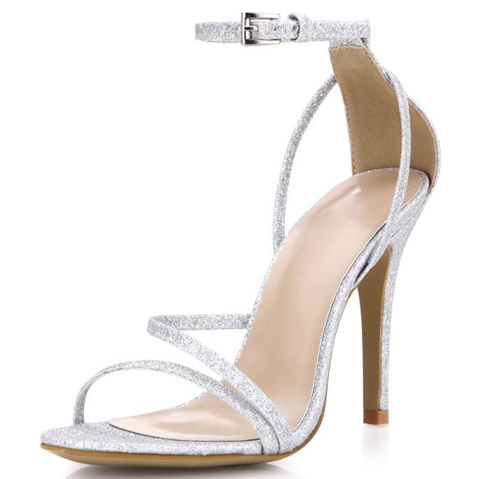 Milanoo Strappy Glitter Sandal, affordable wedding heels