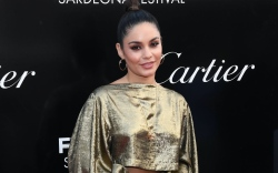 Vanessa Hudgens, gold statement sleeve, pants,