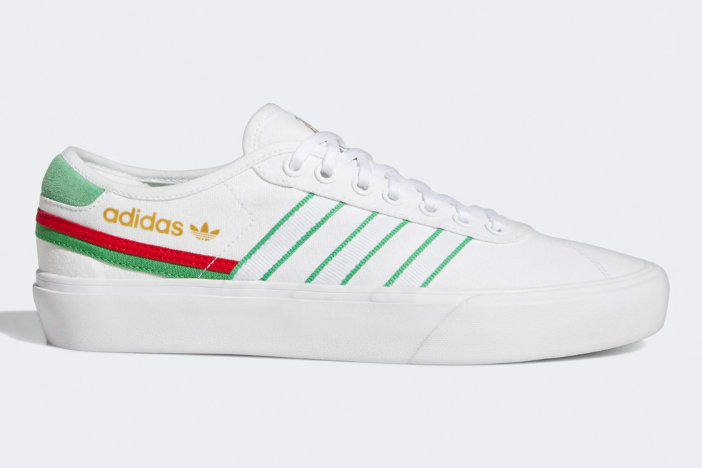 sneakers, low-top, green, red, white, adidas