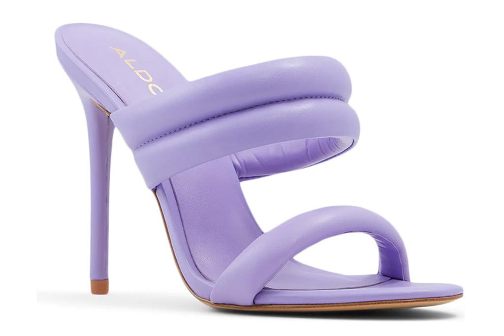 purple heels, mules, aldo