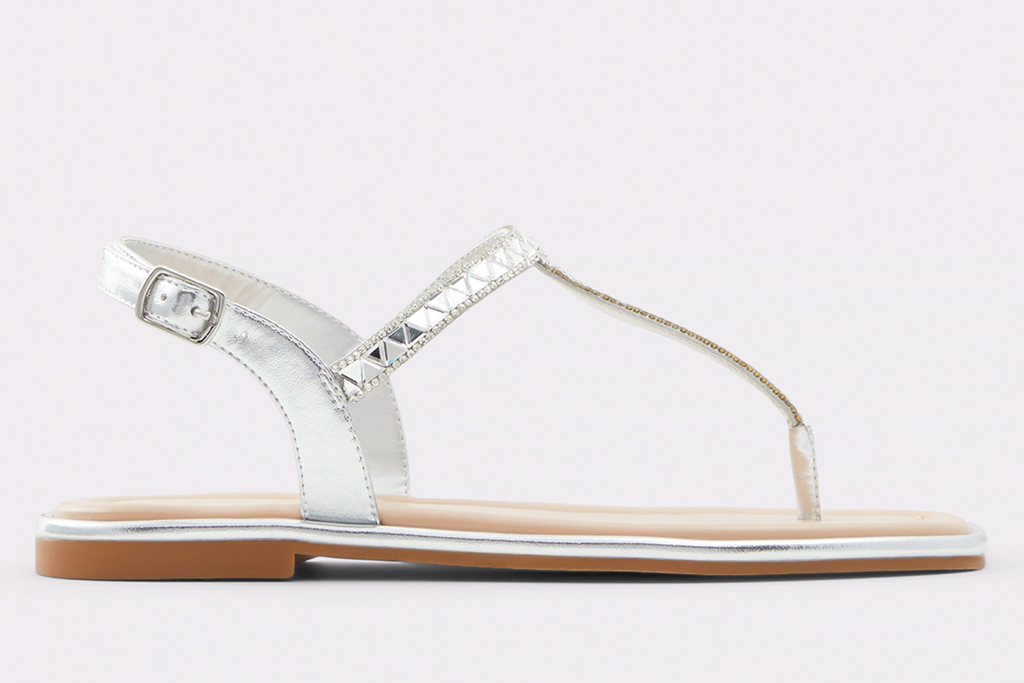 silver sandals, thong, t strap, aldo