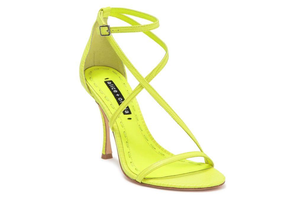 alice and olivia, deidra strappy heel, yellow heel