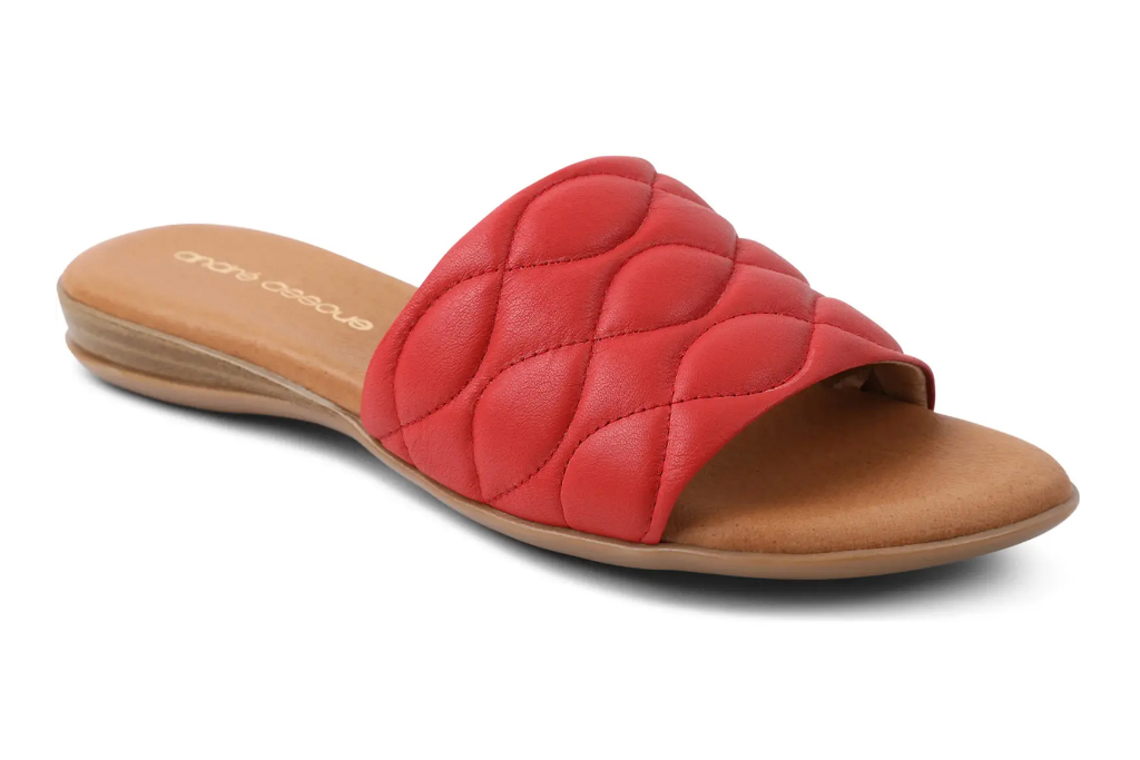red slides, leather sandals, flats, andre assous