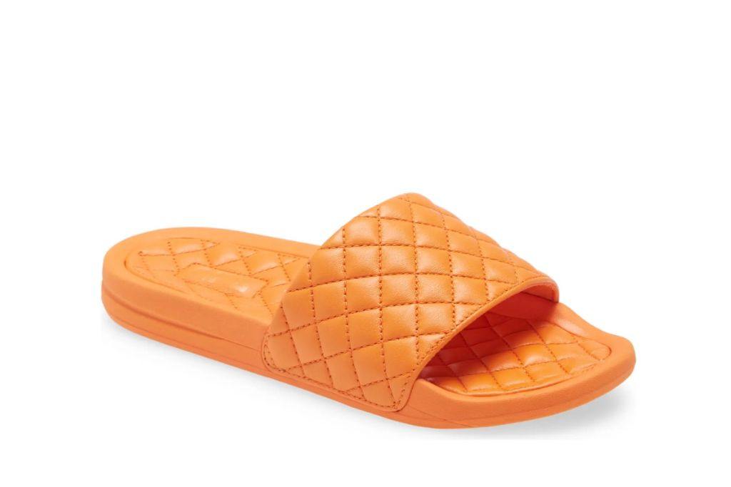 apl, lusso quiled sandal, orange puffy sandals