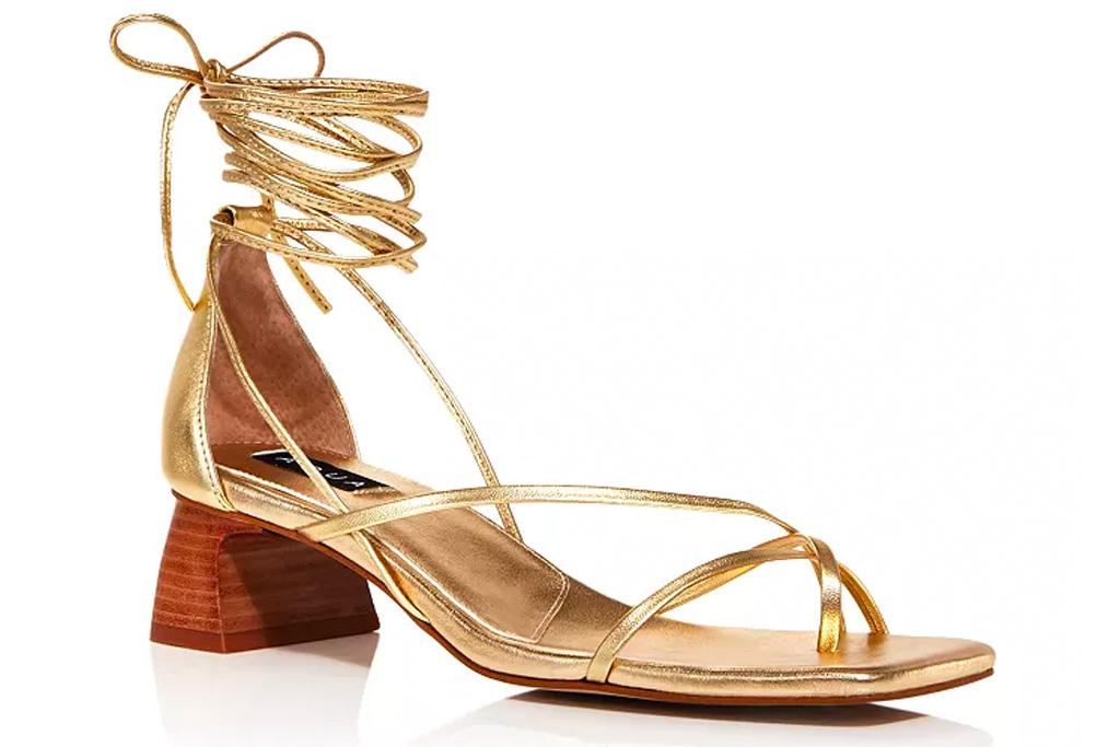 gold sandals, heels, wrap, aqua