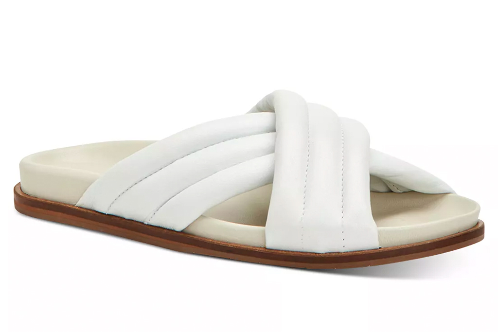 white sandals, puffy, aquatalia