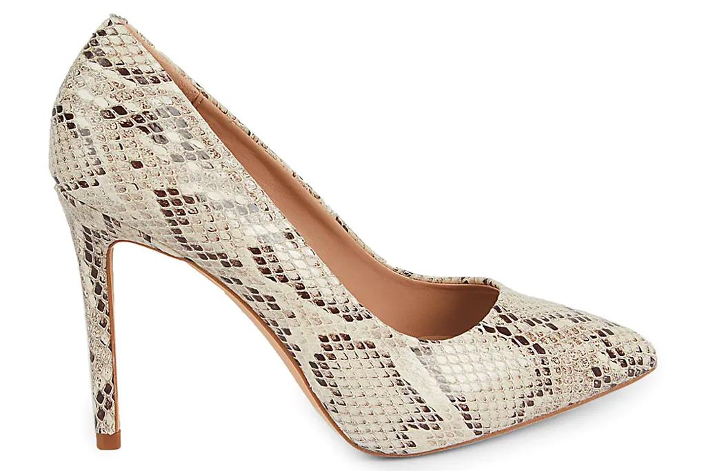 snakeskin heels, pumps, bcbg