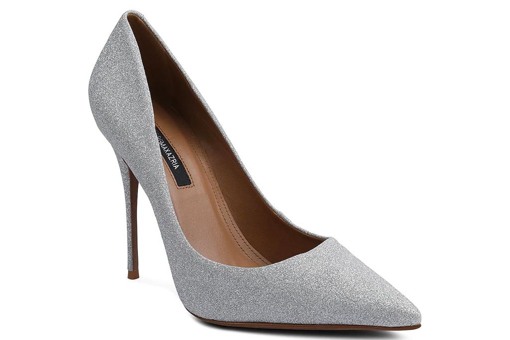 gray heels, silver pumps, bcbg