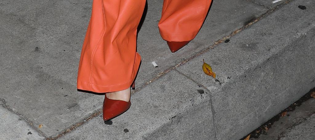 Becky G, orange suit, red heels, LA
