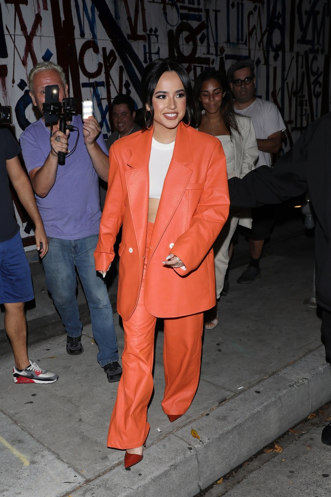 Becky G rocks a all orange outfit as she dines at Craig's restaurant in West Hollywood. 14 Jul 2021 Pictured: Becky G. Photo credit: Photographer Group/MEGA TheMegaAgency.com +1 888 505 6342 (Mega Agency TagID: MEGA770791_003.jpg) [Photo via Mega Agency]