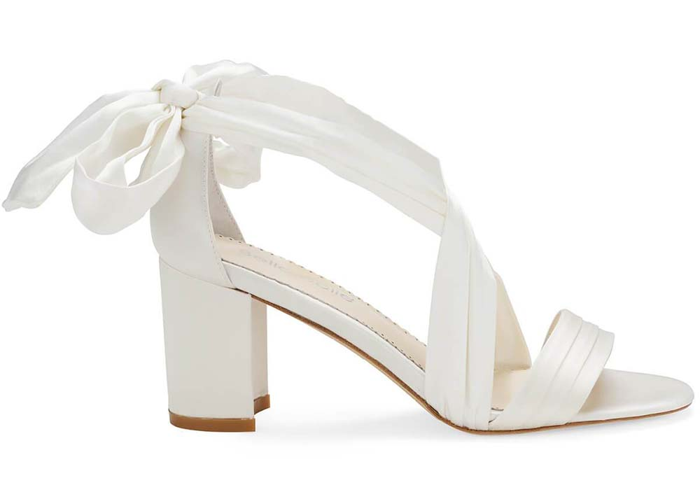 Floral Lace Ivory Kitten Heel Shoes