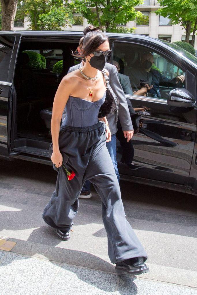 bella hadid, sweatpants, bustier, corset, combat boots, boots, balenciaga, paris, couture