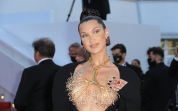 bella hadid, dress, lung necklace, cannes