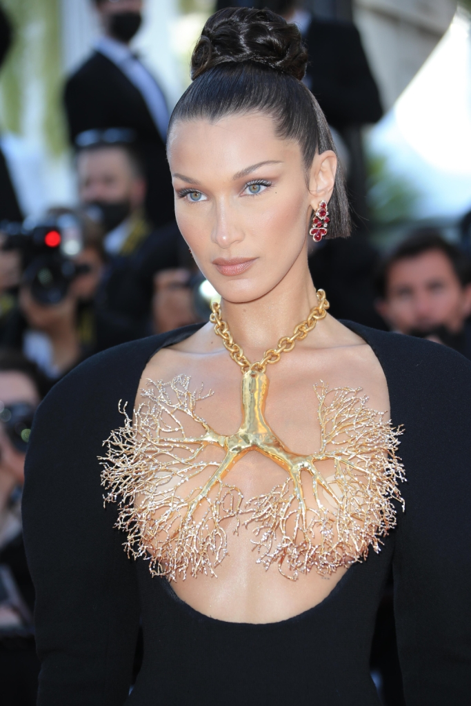 bella hadid, black dress, lung necklace, cannes