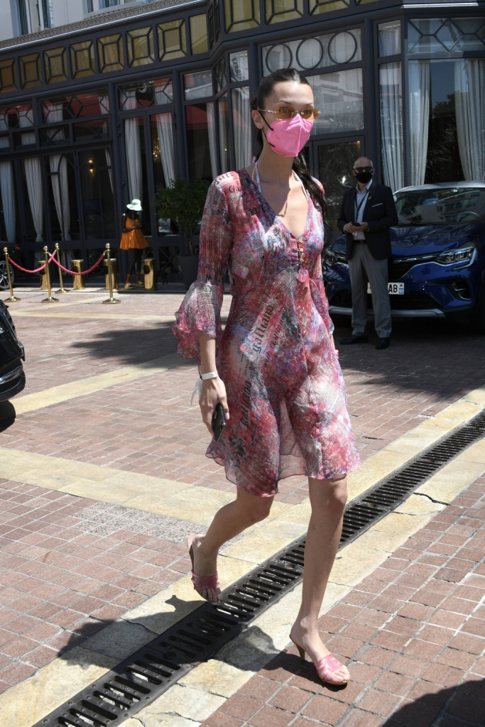 bella hadid, mesh dress, jelly shoes, cannes