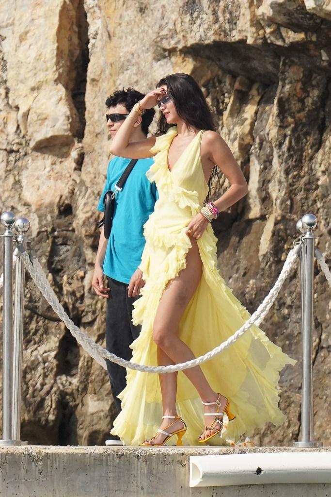 bella hadid, yellow dress, heels, cannes