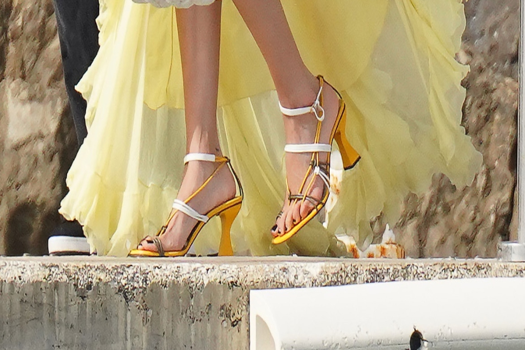 bella hadid, yellow dress, strappy sandals, cannes