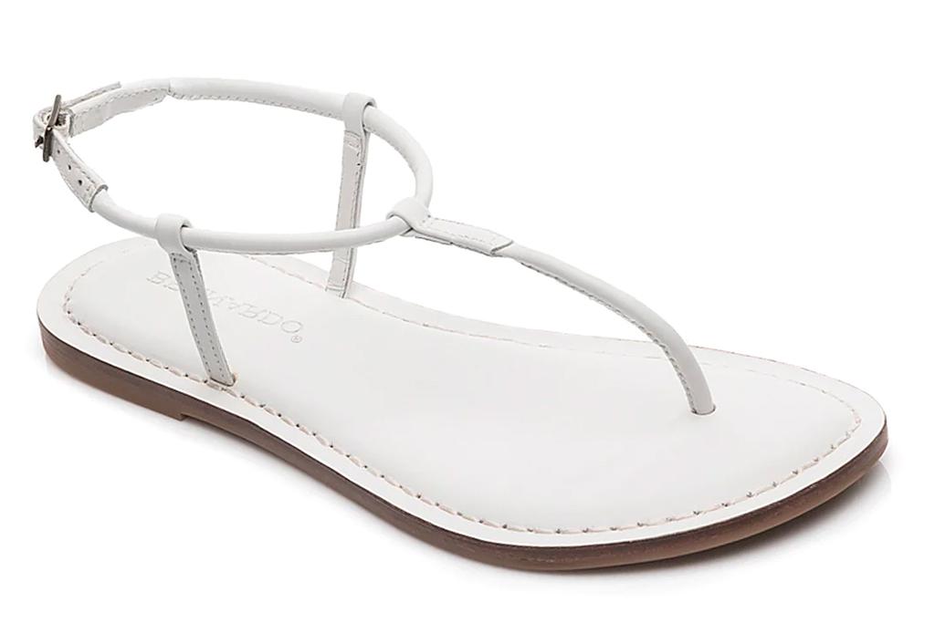 thong sandals, t strap, white, bernardo